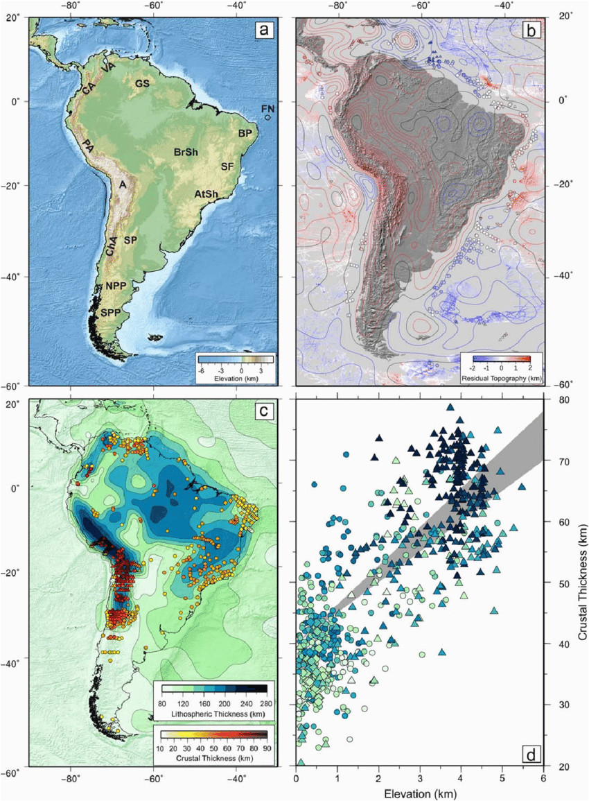a topographic map of south america va 5 venezuelan andes ca 5