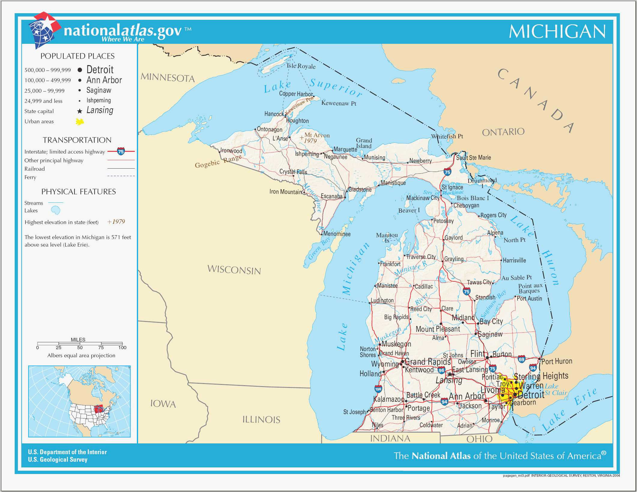 Topographical Map Of Michigan Michigan Elevation Map