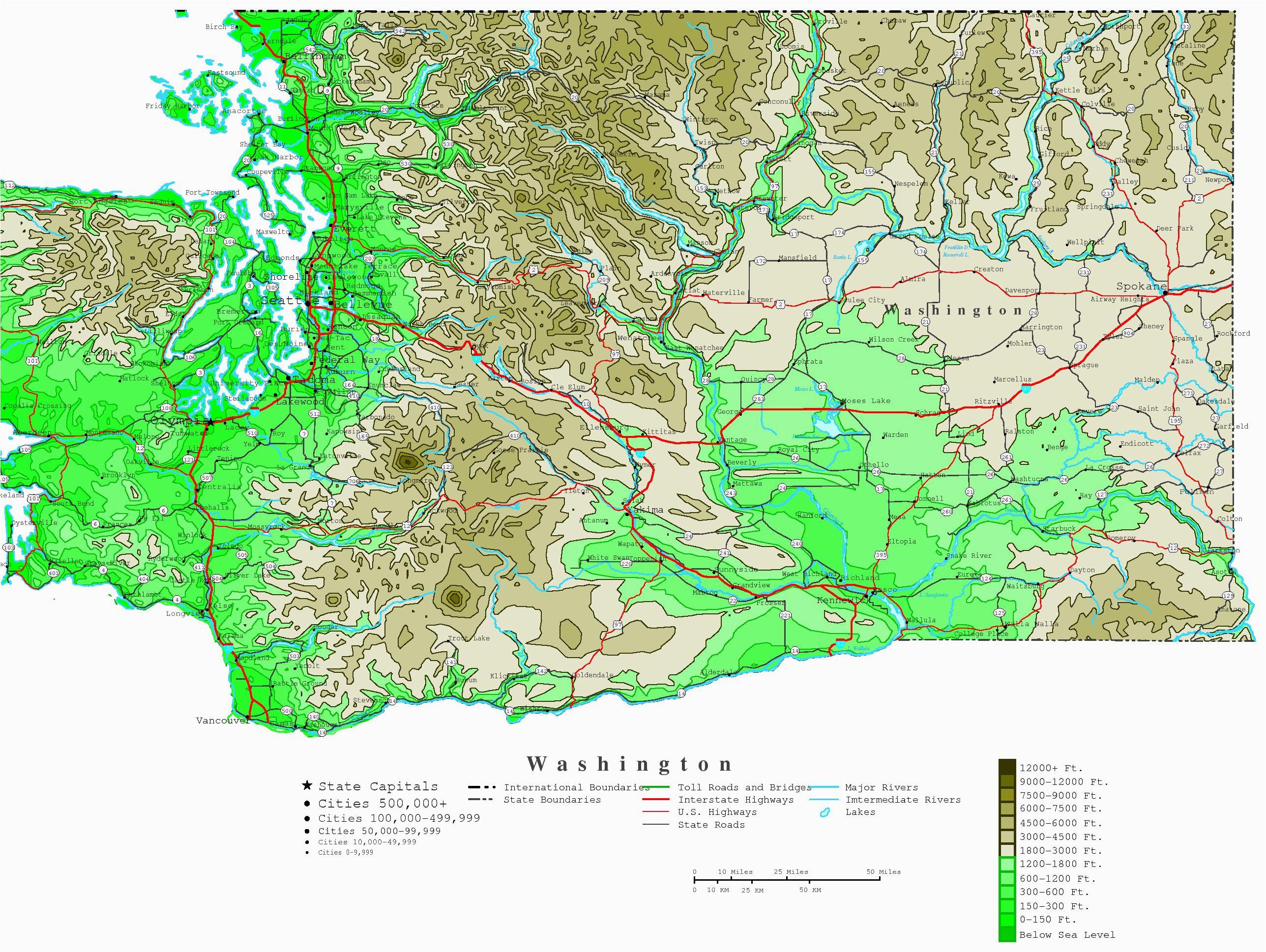 washington contour map