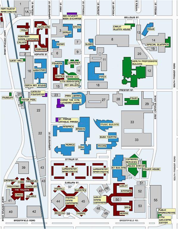 U Of Michigan Campus Map Central Michigan University Map Mount