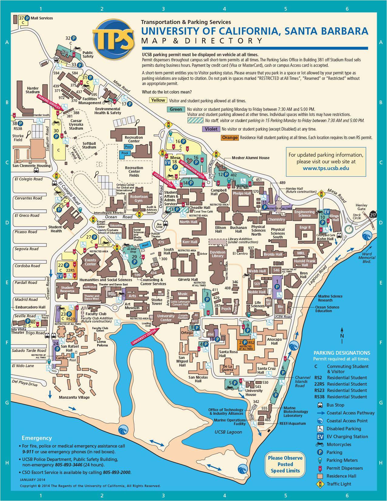 ucsb campus map college printable where is santa barbara california
