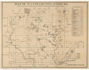 wayne county map etsy