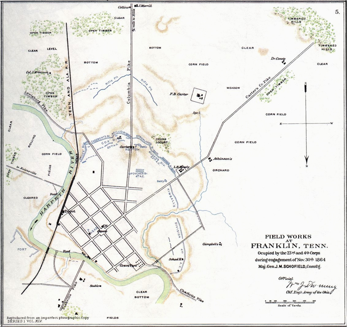 map of franklin tn 1864 battle of franklin usa tennessee