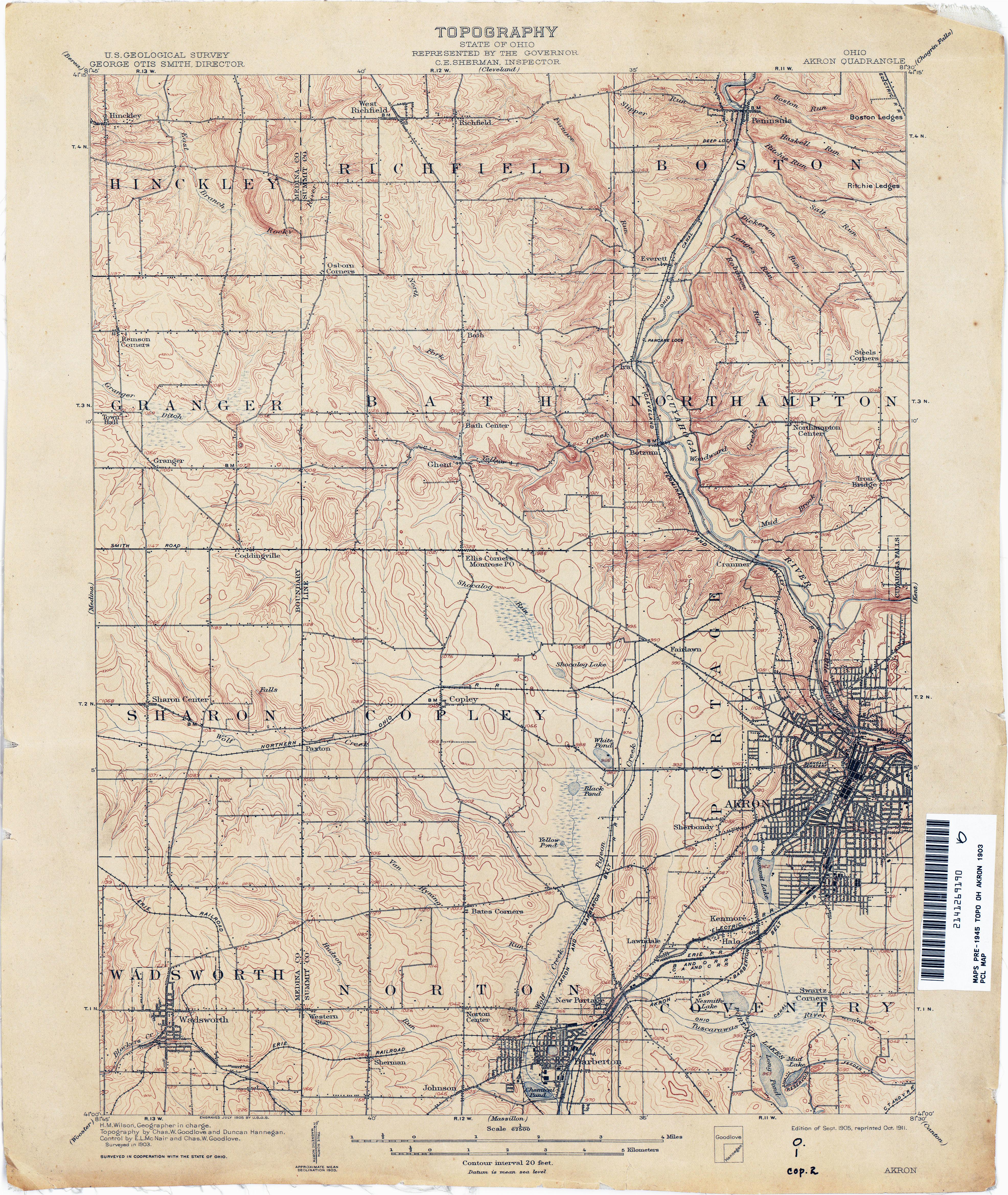 Licking County Ohio 1901 Map Newark Oh