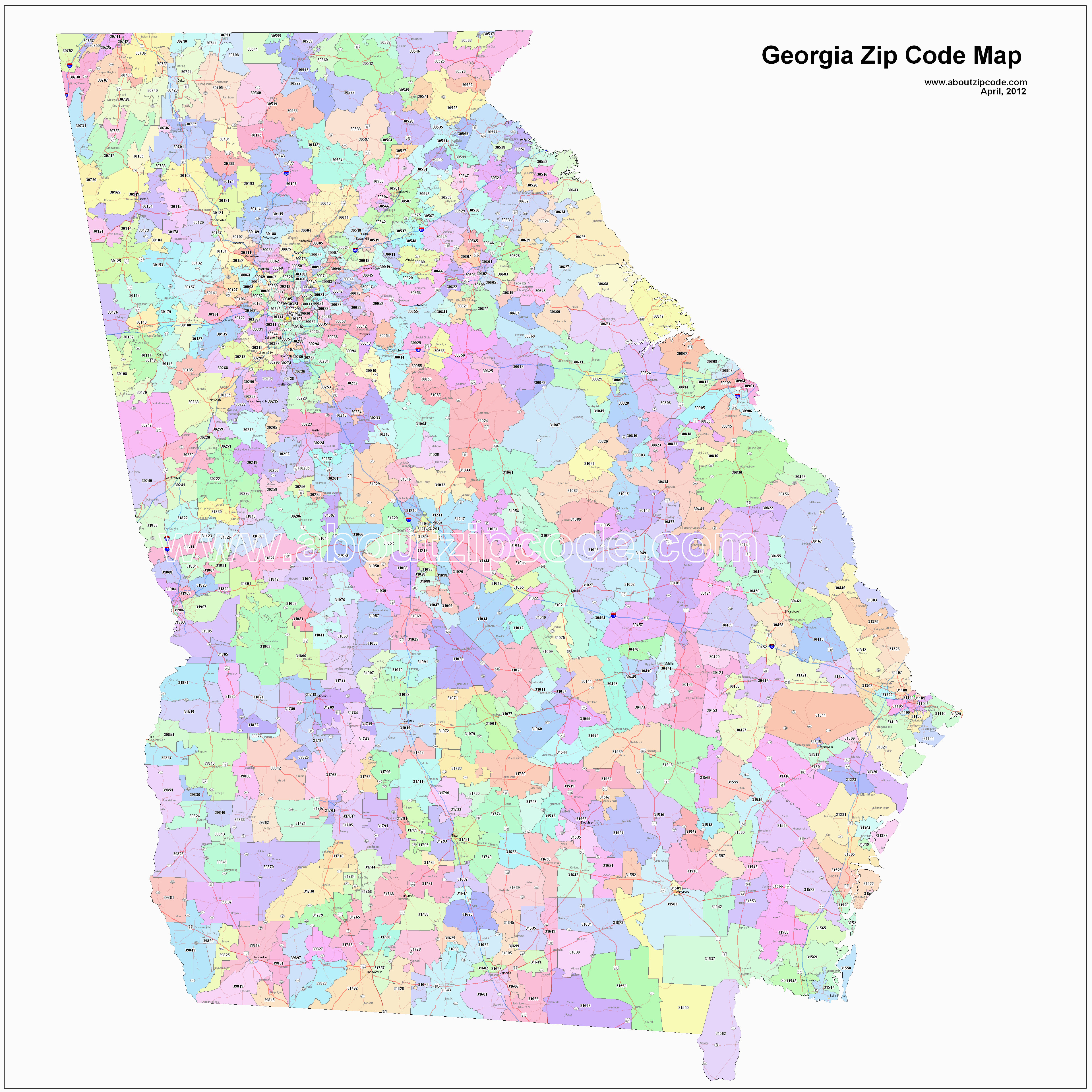 georgia zip code maps free georgia zip code maps