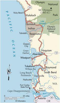 washington and oregon coast map travel places i d love to go