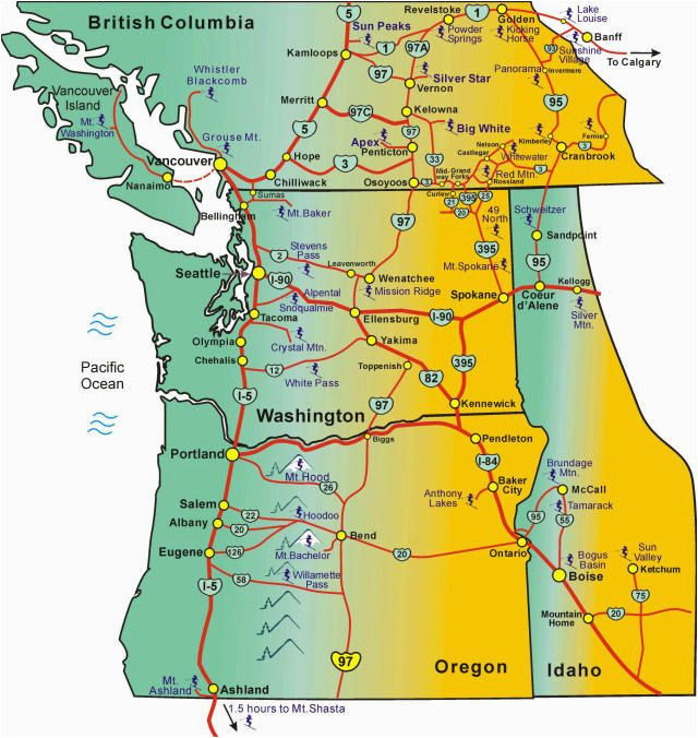 Oregon And Washington Map Blue Mountains oregon Map Pacific northwest Ski areas Map with