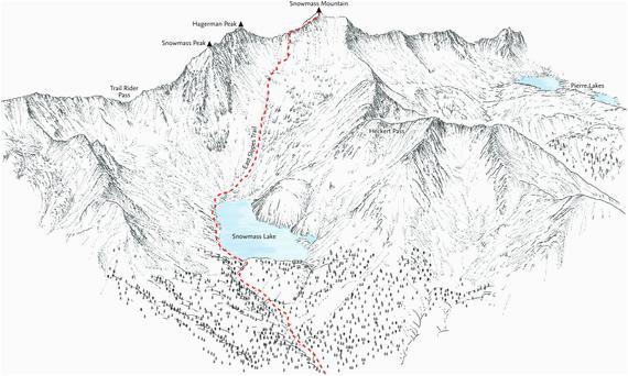 snowmass mountain 14ers linie darstellung der ost hange spur etsy