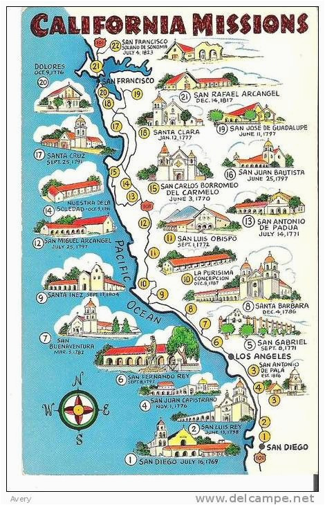 map of california missions built between 1769 and 1823 item number