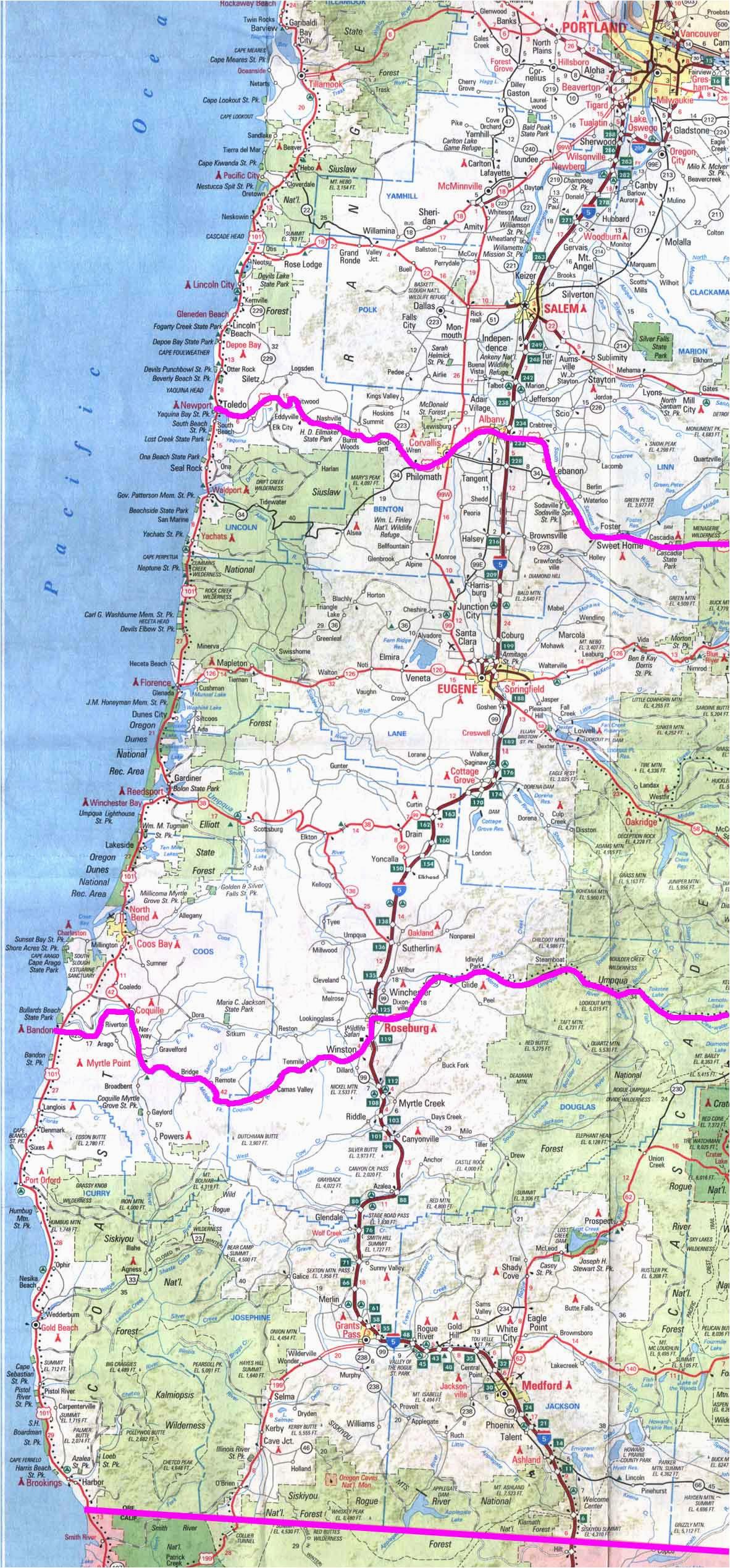 Camping Oregon Coast Map Map Of Oregon And California Coast