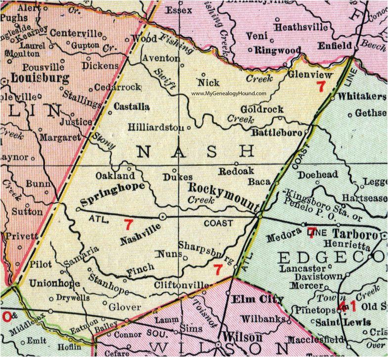 nash county north carolina 1911 map rand mcnally nashville