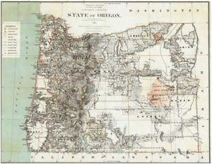 1879 oregon map or hillsboro madras north bend molalla jefferson