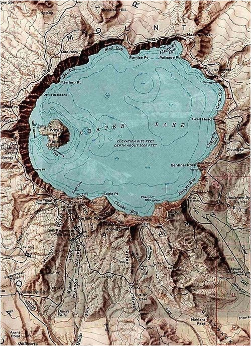 Crater Lake oregon Map A topographic Maps Crater Lake oregon Mt Mazama Aka Meg S
