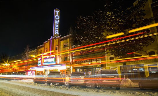 snowy downtown bend at night picture of bend central oregon