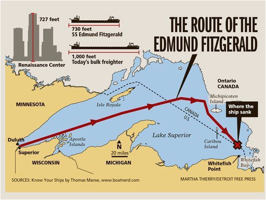 41 years ago edmund fitzgerald sank in lake superior great lakes