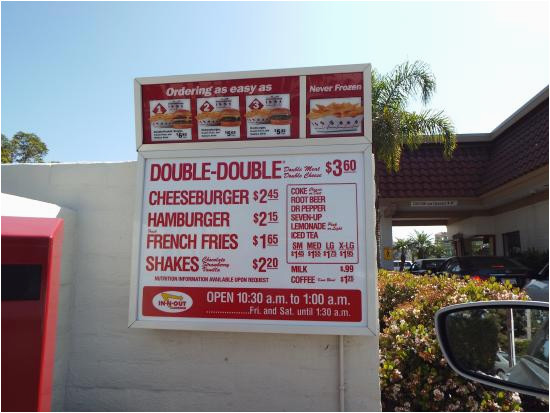 menu board prices as of april 2015 picture of in n out burger
