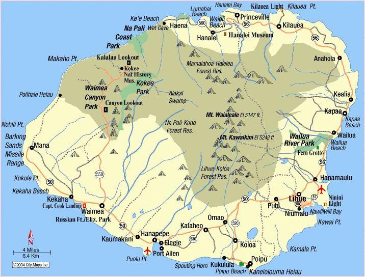map of kauai towns map of kauai island with roads and cities
