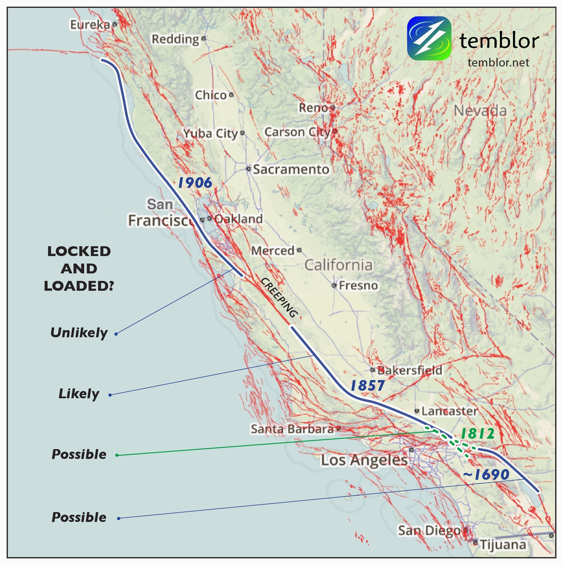 California Map Of Fault Lines