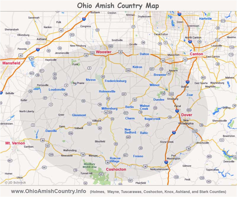 ohio amish country area map information