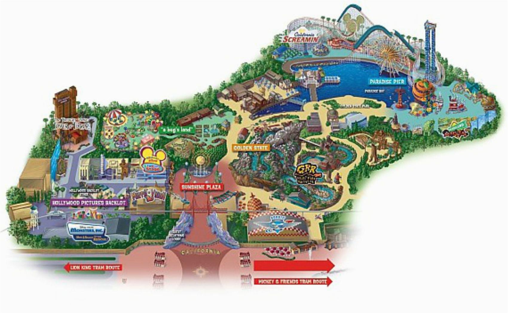 Disneyland California Adventure Map Map Of Disneyland California Adventure Park Maps Of Disneyland