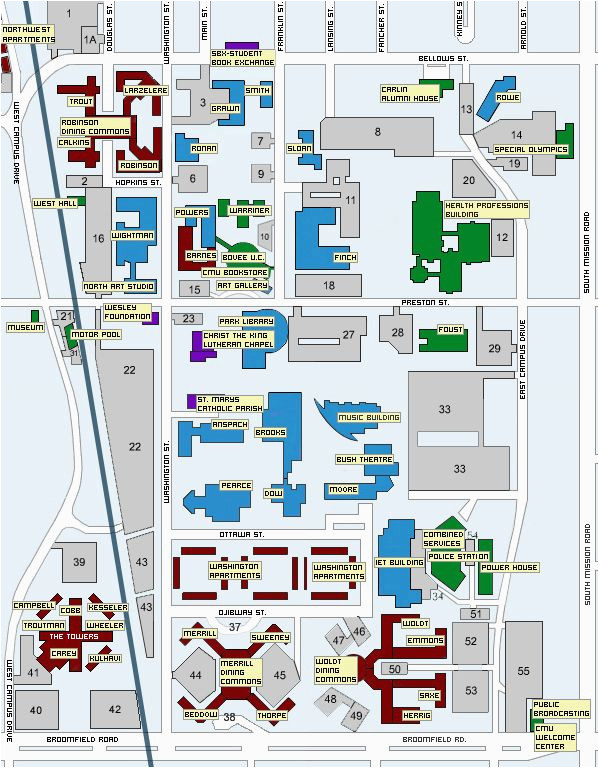 Map Of Eastern Michigan University Campus Central Michigan