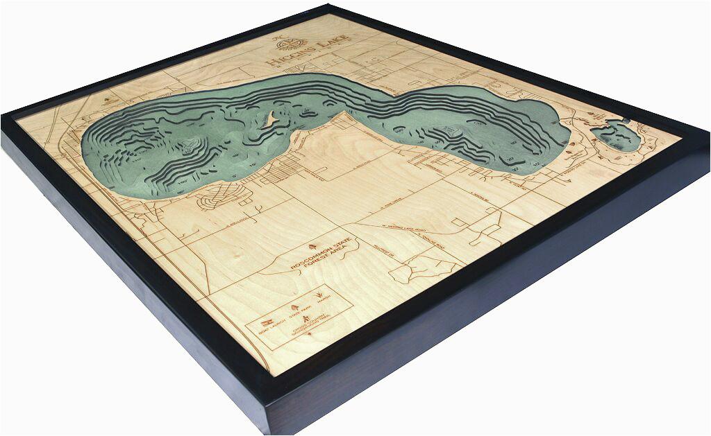 bathymetric map higgins lake michigan scrimshaw gallery