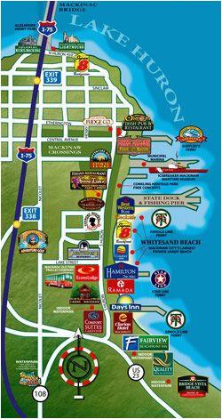 puremichigan map of mackinaw city i love michigan michigan