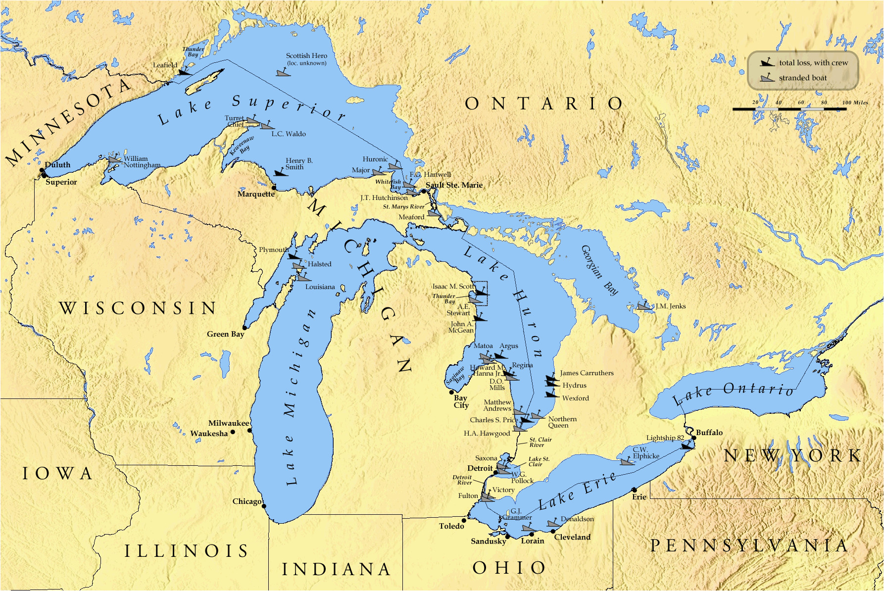 list of shipwrecks in the great lakes wikipedia