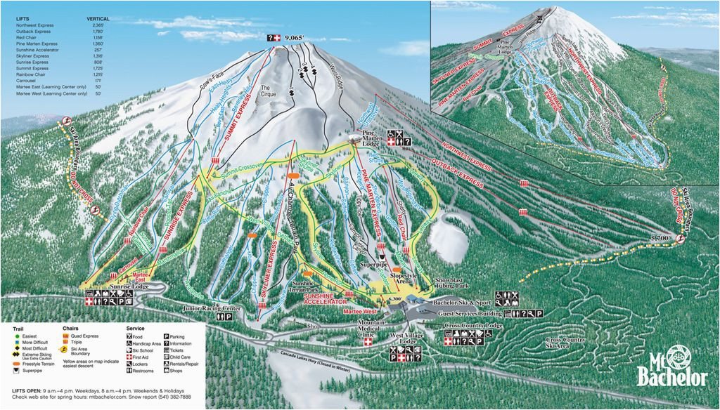 mt bachelor mt bachelor oregon skiing ski magazine trail maps