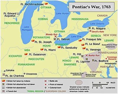 a map showing a summary of action during pontiac s war french