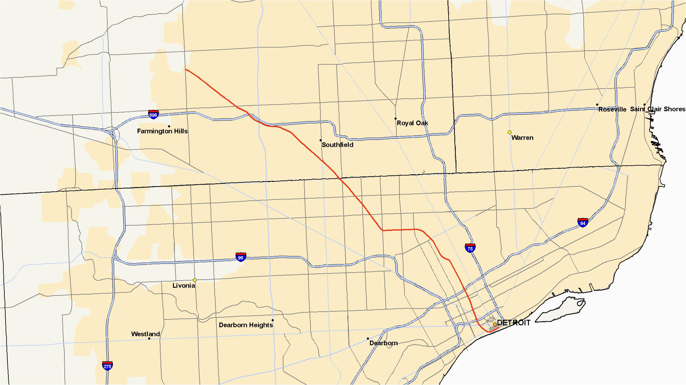 Map Of Se Michigan M 10 Michigan Highway Wikipedia