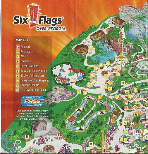 Map Of Six Flags Over Georgia theme Park Review Six Flags Over