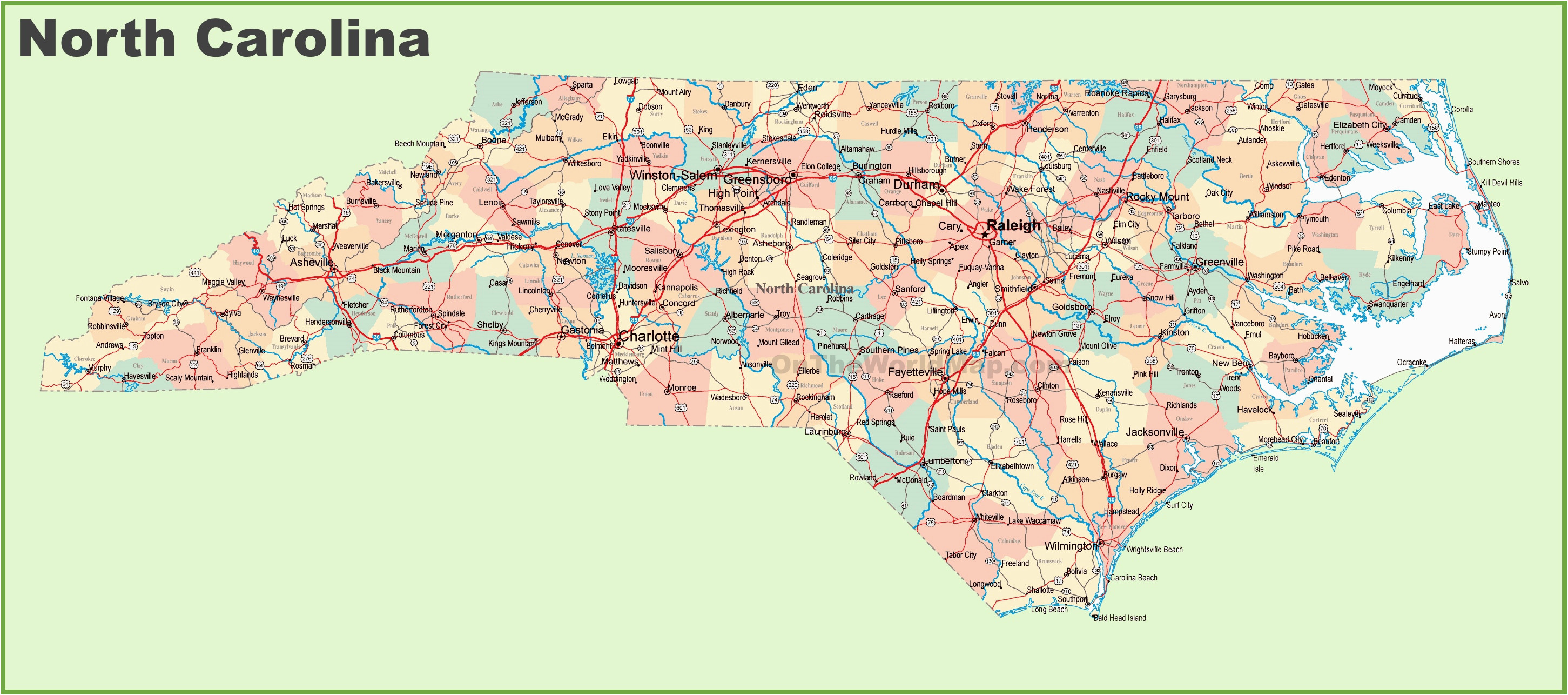 road map of north carolina with cities