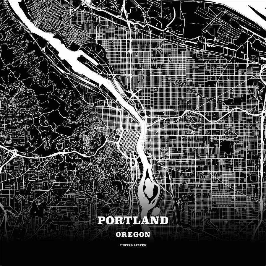 Map to Portland oregon Black Map Poster Template Of Portland ...