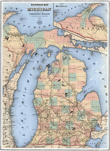 Maps Of Michigan Lakes Michigan Railroad Map Framed Art Print by the Mighty Mitten Great