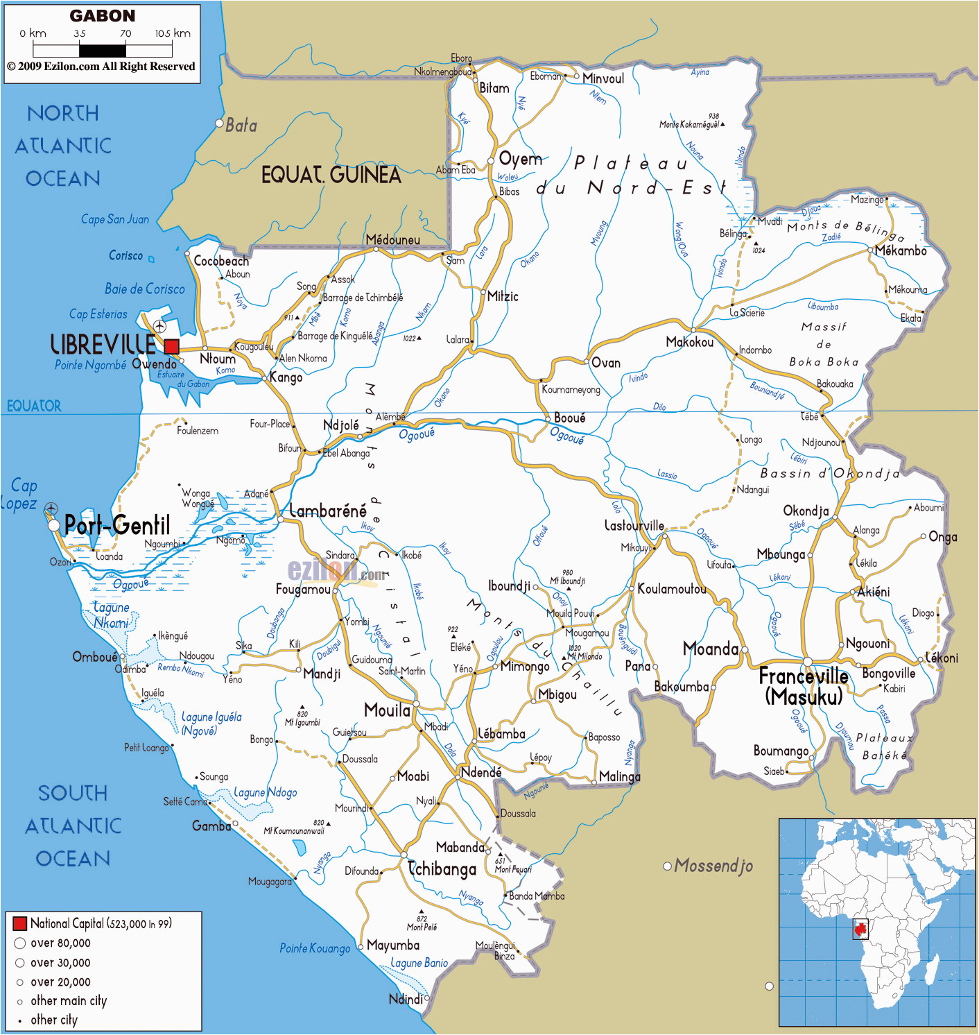 large road map of gabon with cities and airports gabon africa