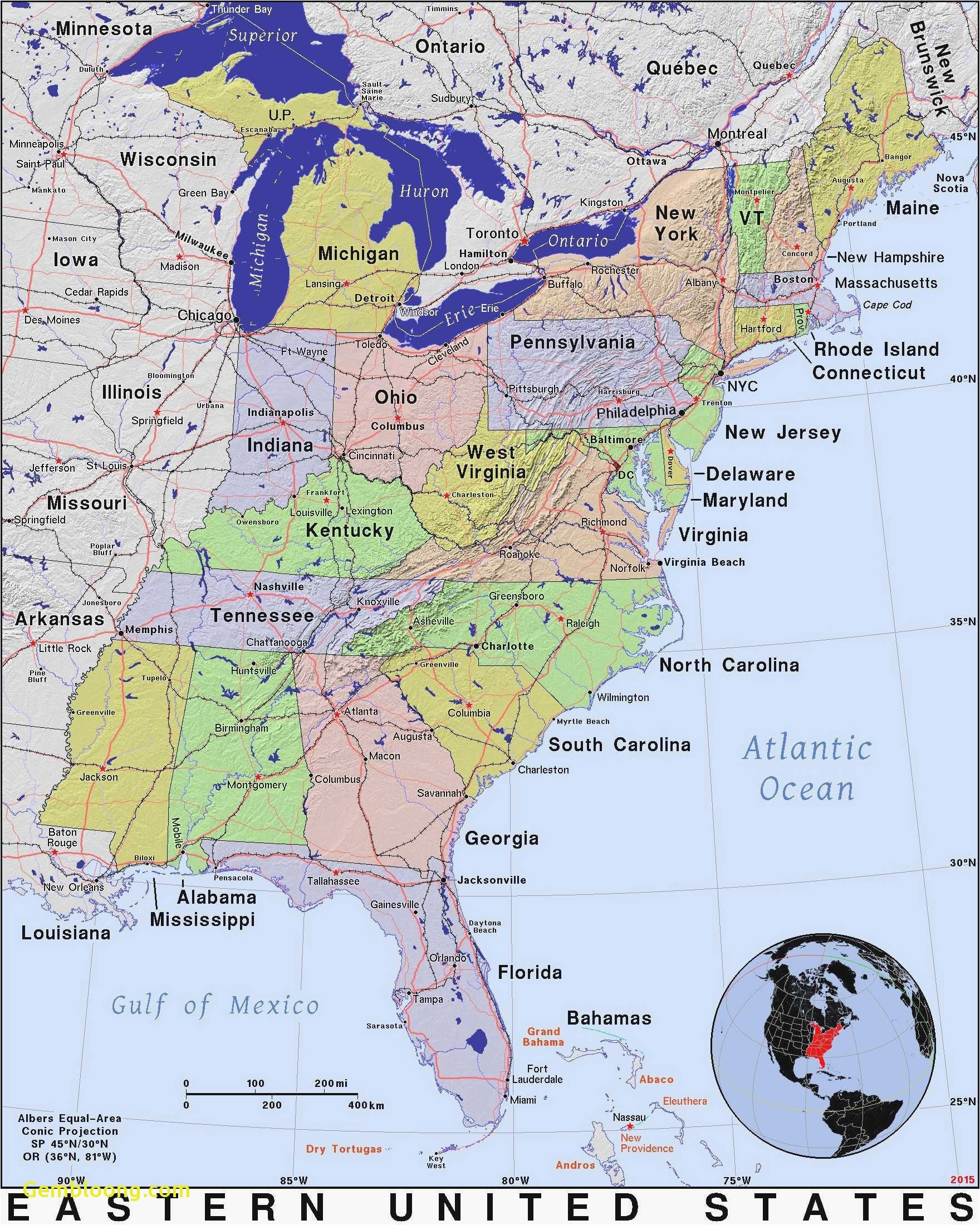 Michigan to Florida Map United States Map with Major Cities ...