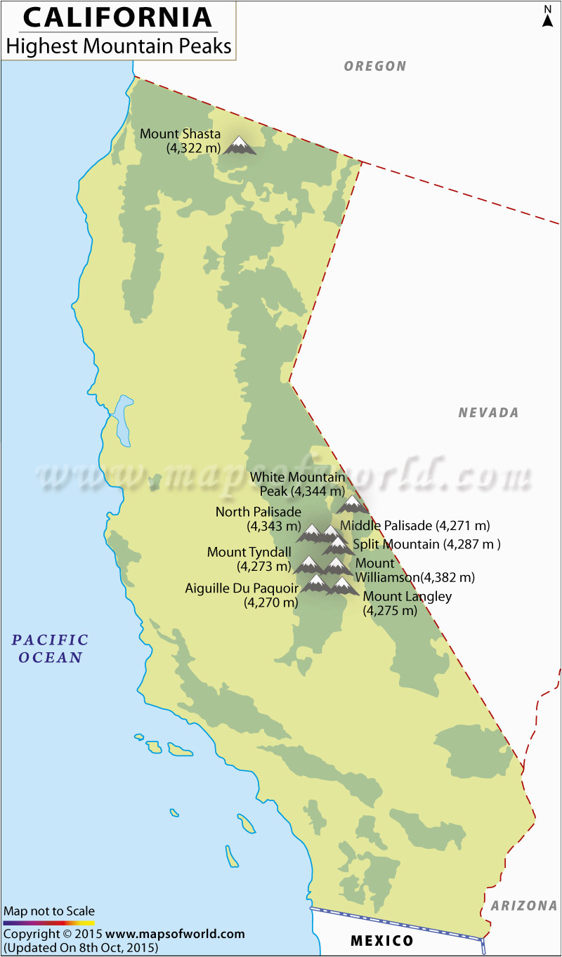 mountain ranges maps of california california map with mountains map