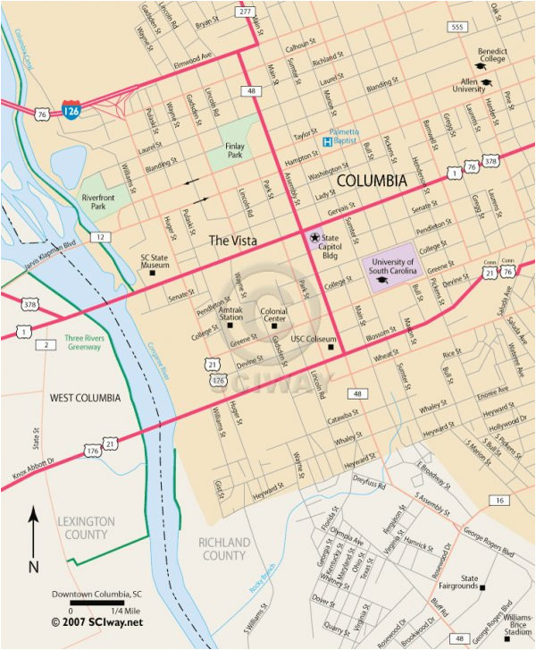 downtown columbia south carolina free online map
