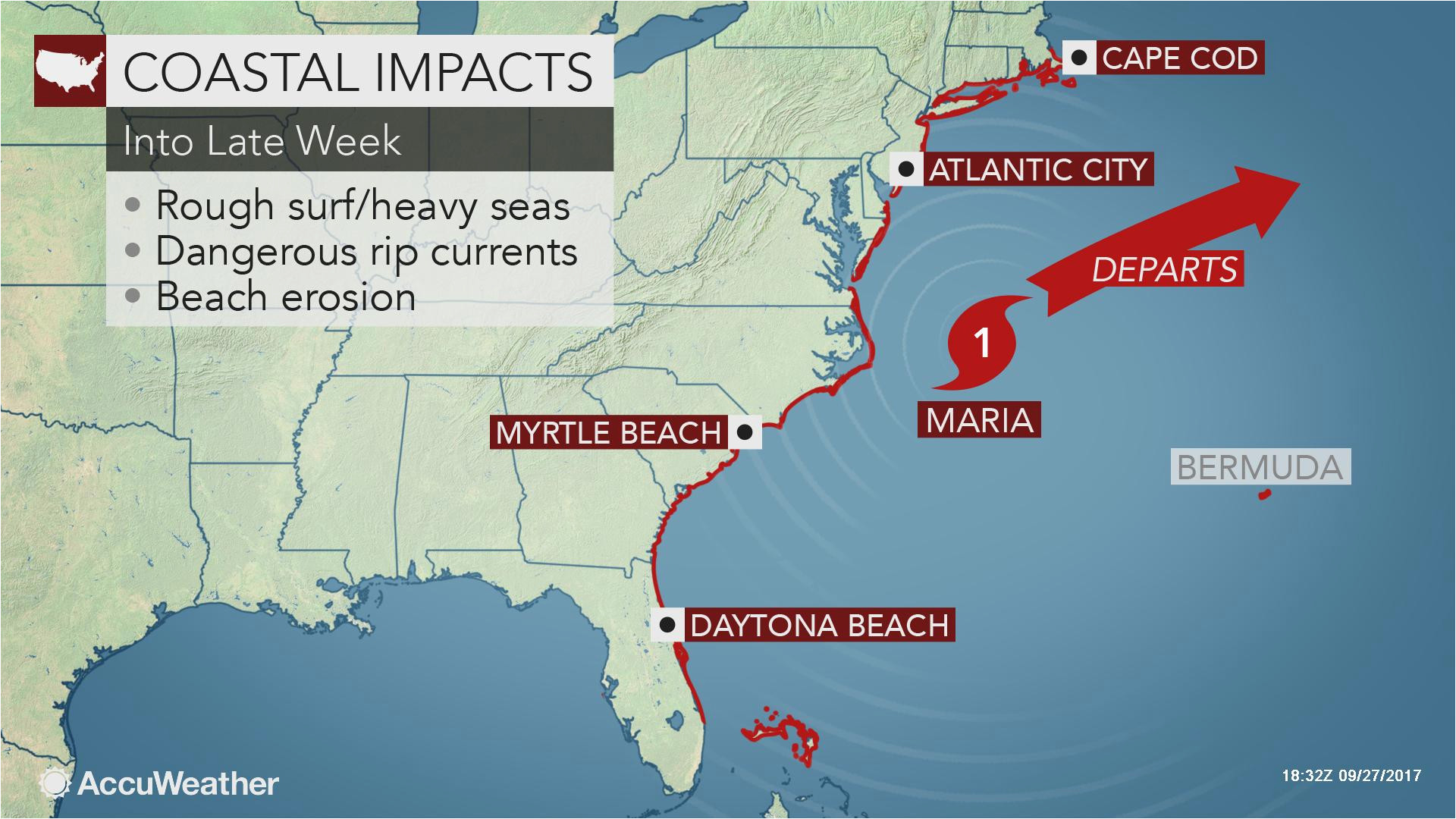 weather map of us today maria brushes north carolina with gusty