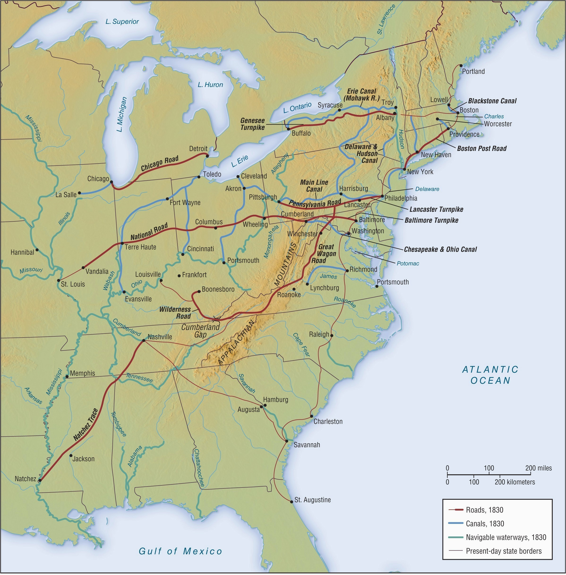 unique ohio and erie canal map of us appalachia clanrobot com