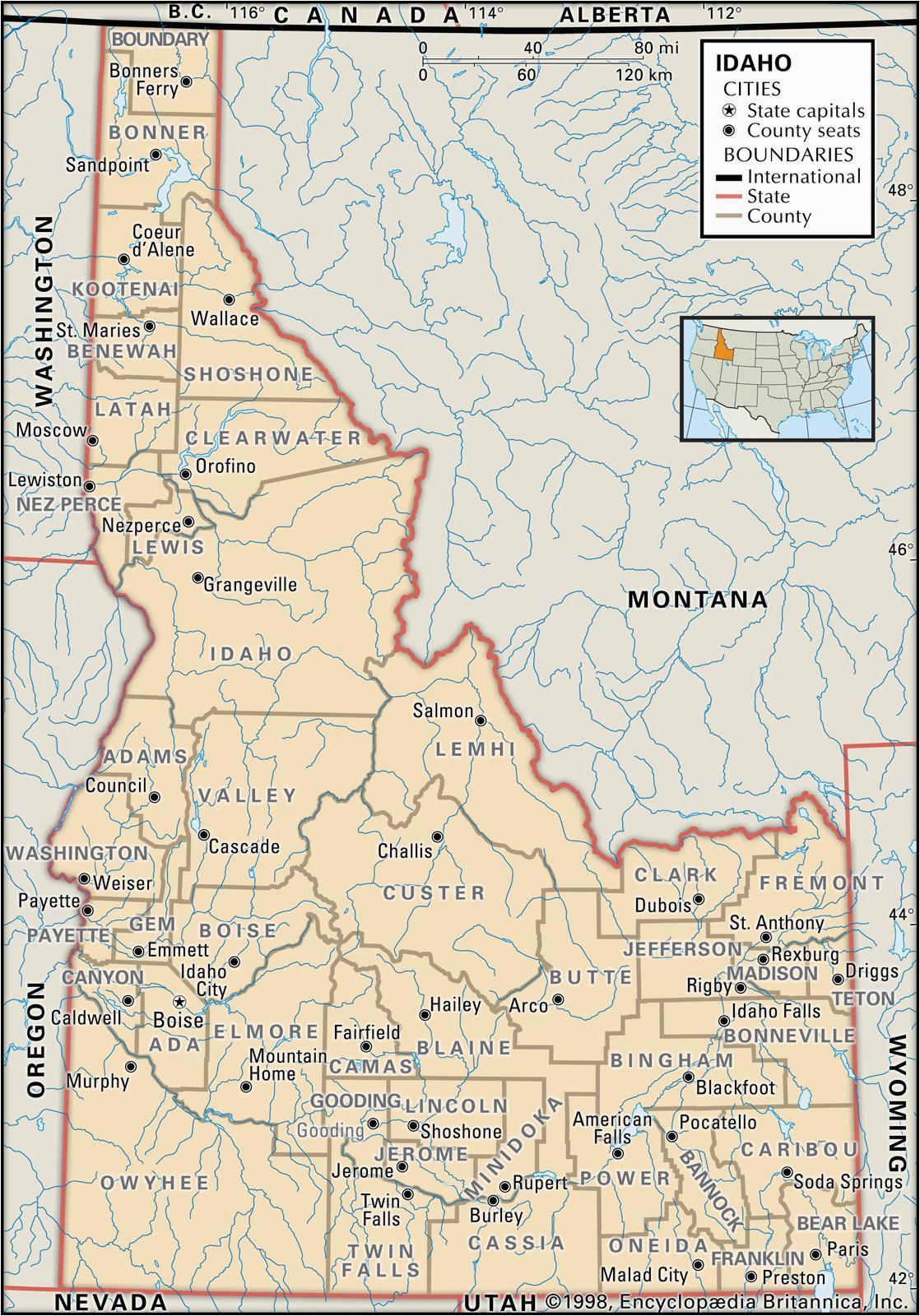 Oregon and Idaho Map State and County Maps Of Idaho
