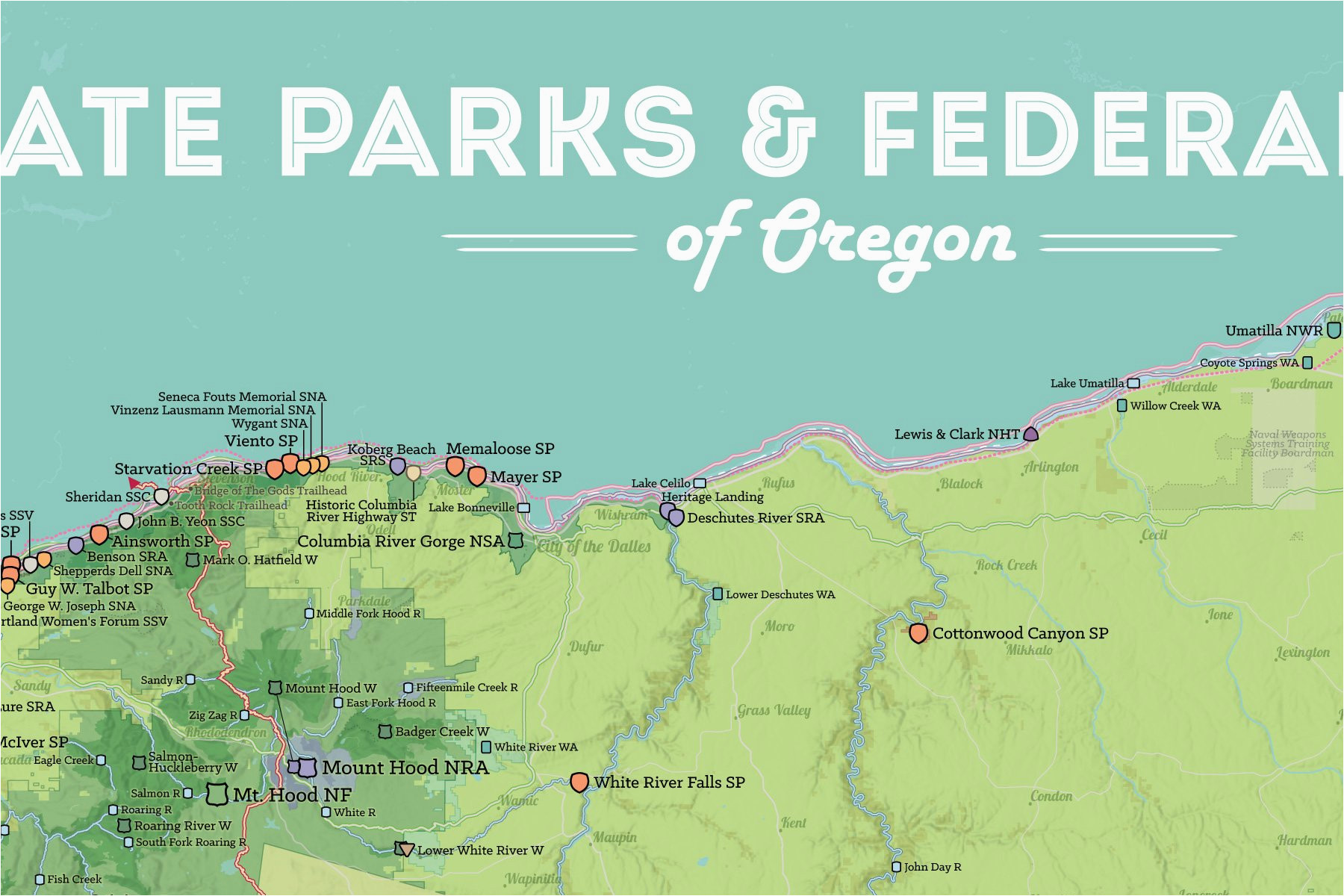oregon state parks federal lands map 24x36 poster best maps ever