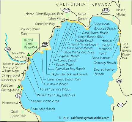 map of north lake tahoe beaches lake tahoe lake tahoe camping