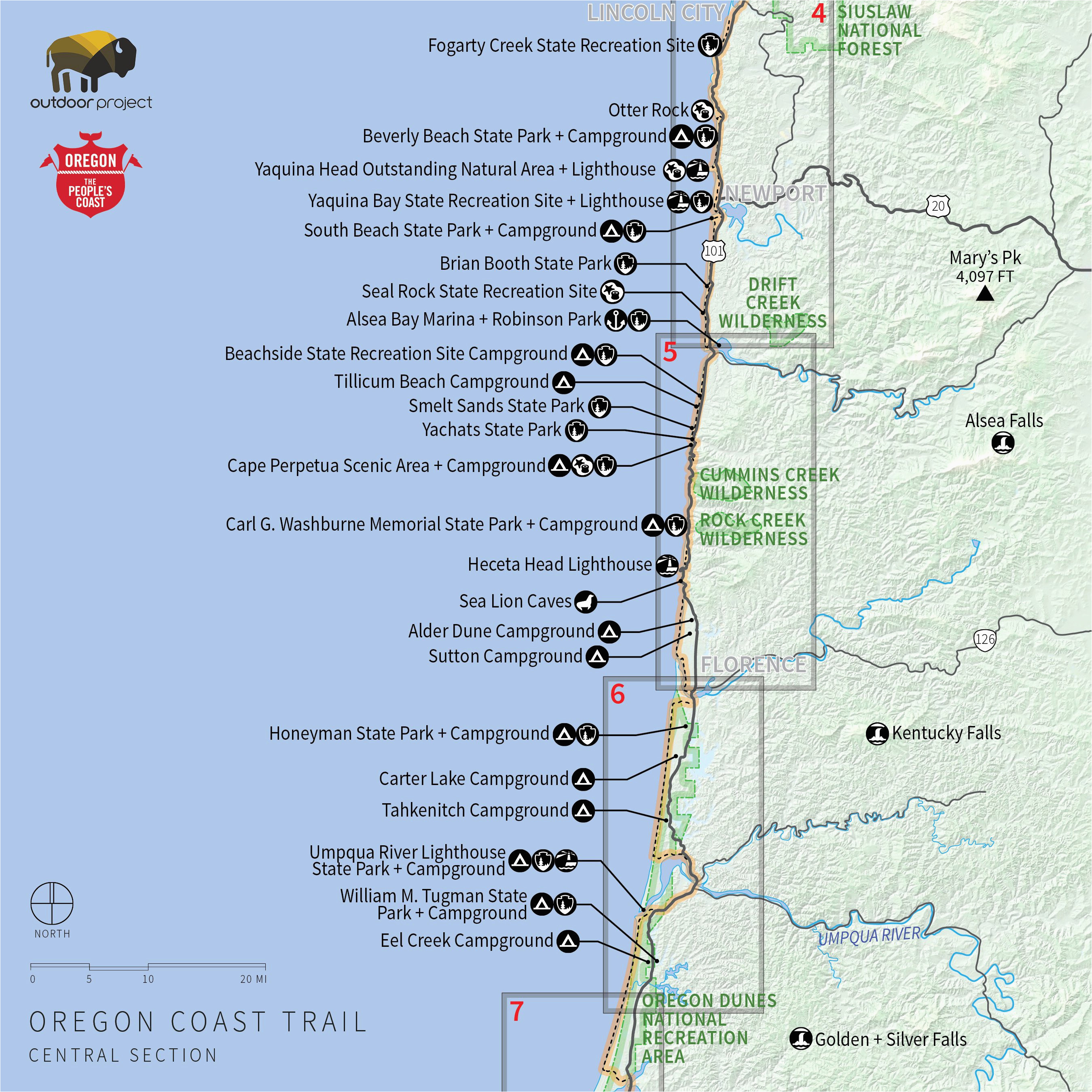 Oregon Coastal Map Oregon Coast Map Pdf | secretmuseum