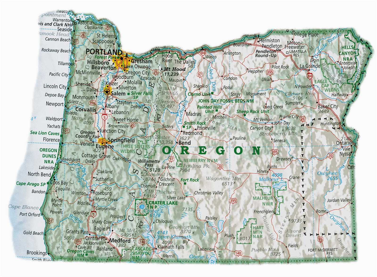 Oregon Map Cities and towns   secretmuseum