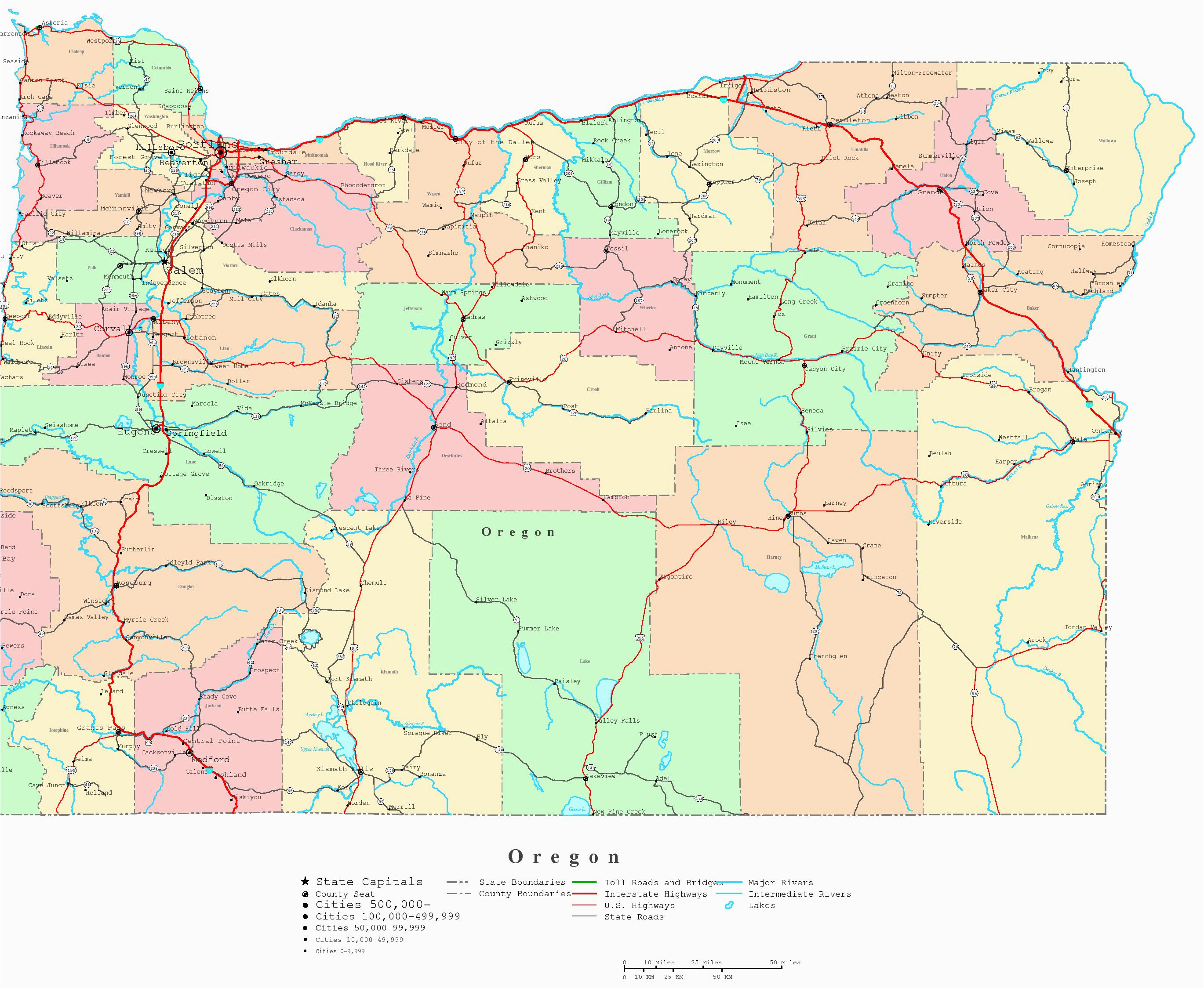 Oregon towns Map Large Printable Map Of the United States with ... on