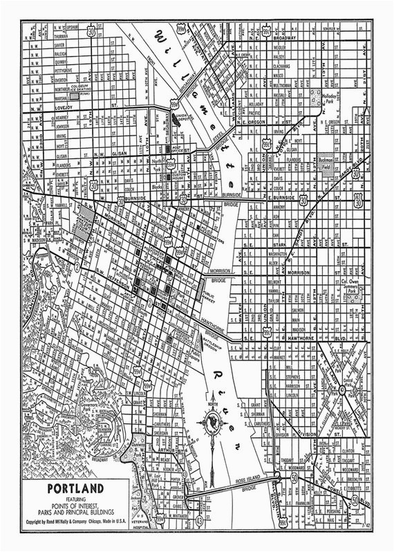 portland street map vintage print poster black and white products