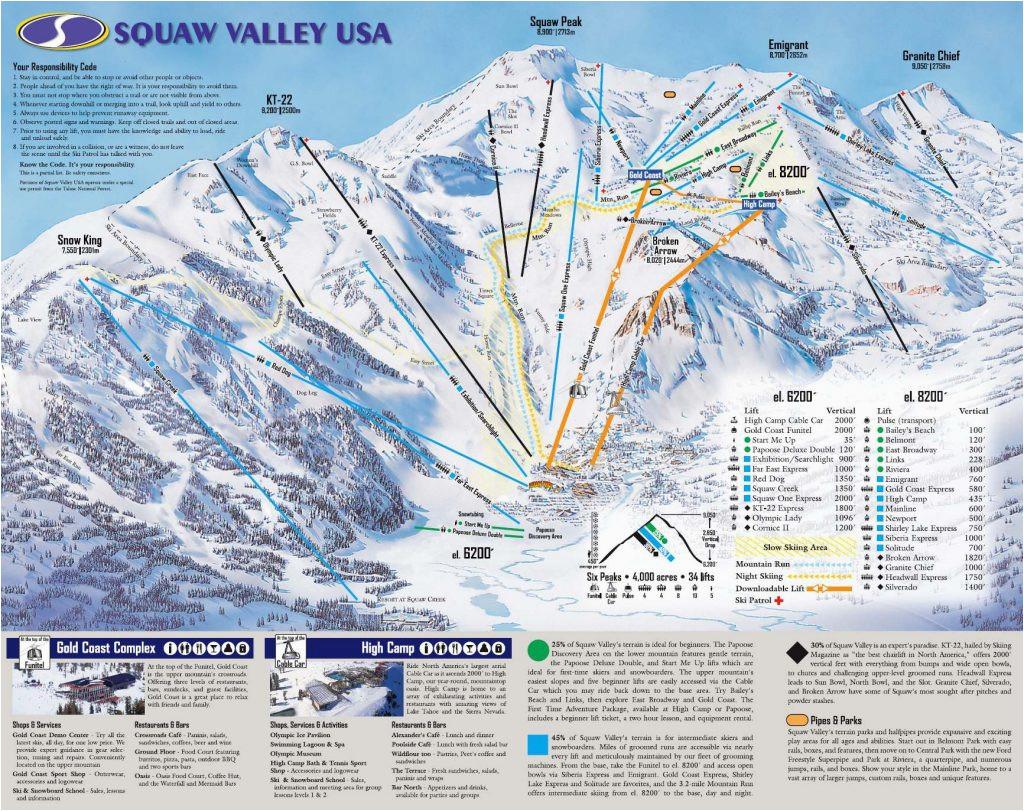 ski resorts in california map klipy org