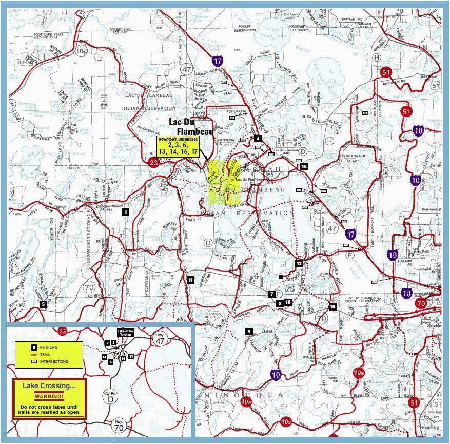 lac du flambeau wi snowmobile trail map brap pinterest trail